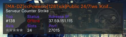 [MA-DZ]<<Power>>[128Tick]Public 24/7!ws !Knife !Rank !Prime Secure - Serveur Counter Strike