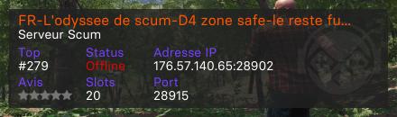 FR-L'odyssee de scum-D4 zone safe-le reste full PvP - Serveur Scum
