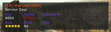 [FR] Warland [PS4] - Serveur Dayz