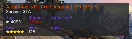 AlpaSheet RP | Free-Access | 128 SLOTS - Serveur Grand Theft Auto