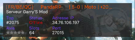 [FR/BE/QC] ★ PandaRP ★ | 5-0 | Moto | +20 Jobs | VIP Free - Serveur Garry's mod