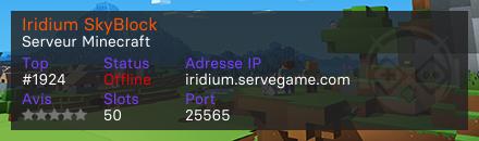 Iridium SkyBlock - Serveur Minecraft