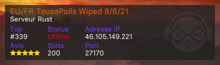 EU/FR TousaPoils Wiped 8/6/21 - Serveur Rust